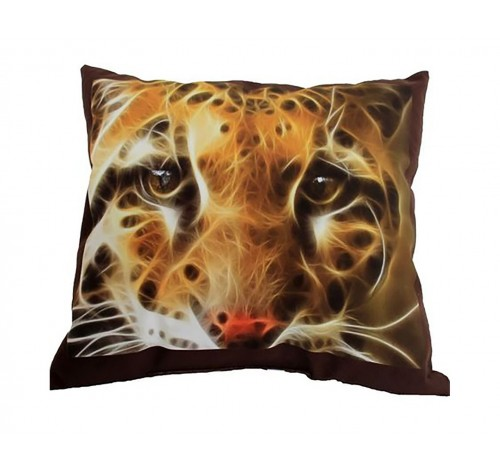 Perna decorativa din plus, cu imagine Cap Jaguar, 40 x 50 cm