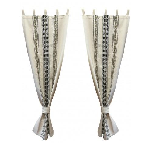 Draperie Liana, bej, 60 cm x 150 cm, motiv Etno,100% bumbac