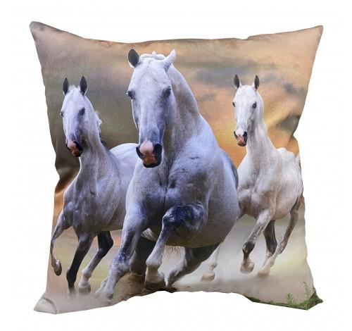 Perna decorativa cu doua fete, Horse run, imprimat 40x40 cm