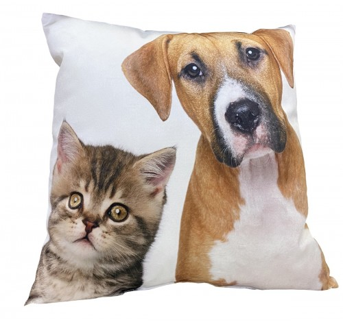 Perna decorativa cu doua fete, Cat and Dog, imprimat, 40x40